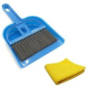 Stylewell Combo of Mini Dustpan Broom Set and Car Bike Home Office Multipurpose Polish Towel Microfibre Cleaning Cloth