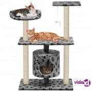 vidaXL Penjalica za mačke sa stupovima za grebanje od sisala 95 cm siva s uzorkom šapa