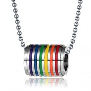 ELECTROPRIME® Rainbow Stainless Steel Pride Long Chain Pendant Necklace Dog Tag