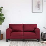 vidaXL 2-местен диван, виненочервен, текстил