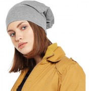 Vimal-Jonney Grey Melange Cotton Beanie Cap For Women