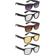 NuVew Wayfarer Sunglasses(Silver, Brown, Violet, Clear, Yellow)