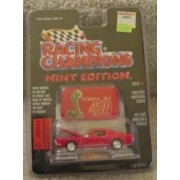 1968 RED FORD MUSTANG COBRA JET 428 -RACING CHAMPIONS MINT CONDITION DIE CAST EMBLEM & VEHICLE WITH DISPLAY STAND