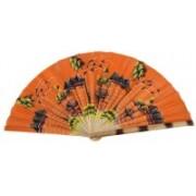 Folks Handcrafts Foldable Self Design Orange Hand Fan(Pack of 1)