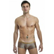 L'Homme Invisible Golden Eye Push Up Hipster Boxer Brief Underwear Brown MY39-GYE-OR1