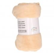 Merkloos Zandkleurige warme fleece deken 150 x 200 cm