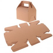 MagiDeal Pack of 50pcs Vintage Kraft Paper Candy Cake Handle Carry Gift Boxes Wedding Favors - brown