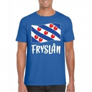 Bellatio Decorations Blauw t-shirt Fryslan / Friesland vlag heren