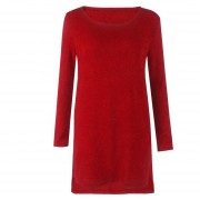 Vestido Casual E-Thinker mujer con el cuello redondo con cuchilladas y cremallera - Rojo