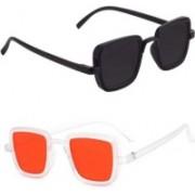 Averhub Retro Square Sunglasses(Black, Orange)