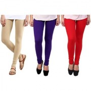 Stylobby Beige Purlpe And Red Kids Legging Pack Of 3