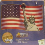 American Usa Flag Statue of Liberty - Flag Shapped Puzzle 887 Pieces