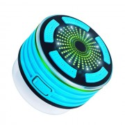 Outdoor BT Wireless Speaker Built-in Mic IPX7 Waterproof Speakers with FM Radio & LED Mood Light - Baby Blue