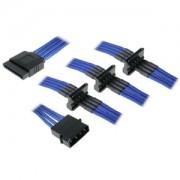 Cablu adaptor BitFenix Alchemy 4-pini Molex la 4x SATA, 20cm, albastru, BFA-MSC-M4SA20BK-RP