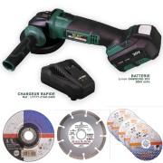 Silex France ® Meuleuse d'angle sans fil Silex® Batterie Li-Ion 5Ah Samsung + 7 disques