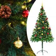 vidaXL Изкуствена елха, украсена с играчки и LED лампи, 180 см, зелена
