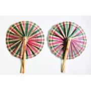 FolksHandcrafts Foldable Solid Multicolor Hand Fan(Pack of 2)