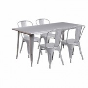 Flash Furniture 31.5Inch W x 63Inch L Rectangular Metal Table Set with 4 Bistro Chairs - Silver, Model ETCT005430SIL