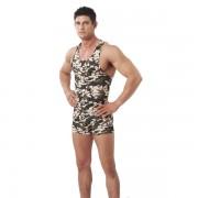 Rimba Camouflage Shorts + Tank Top T Shirt Set Army Green 1972