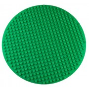 Premium 16 x 16 Double Sided Circular Silicone Baseplate Mat - Green Roll Up Base Plate with Large and Small Pegs - Compatible with LEGO and DUPLO
