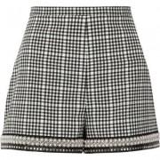 River Island Womens Black gingham check faux pearl hem shorts