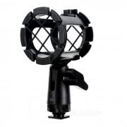 Soporte de suspension de choque de microfono de mano + adaptador de zapata caliente - negro