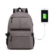 Universal Multi-Function Oxford Cloth Laptop Shoulders Bag Backpack with External USB Charging Port Size: 46x32x12cm For 15.6 inch and Below Macbook Samsung Lenovo Sony DELL Alienware CHUWI ASUS HP(Grey)