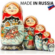 Russian Nesting Doll -Village Scenes - Hand Painted in Russia - 5 color/size variations - Traditional Matryoshka Babushka (6.75``(5 dolls in 1), Scene I)