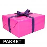 Shoppartners Roze inpakpapier pakket met paars lint en plakband