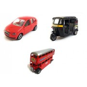 3 Combo Vehicle Toys of Indica Car, Auto Rickshaw and Double Decker Bus Toy for kids | Pull back and Go | Openable Doors | Red, Black and Red Color | Set of 3 Toys