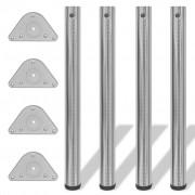 vidaXL 4 Height Adjustable Table Legs Brushed Nickel 710 mm