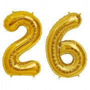 De-Ultimate Solid Golden Color 2 Digit Number (26) 3d Foil Balloon for Birthday Celebration Anniversary Parties