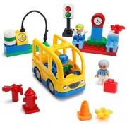 Play Build School Bus Building Blocks Set - 29 Pieces - Includes Vehicle, Bus Stop, Gas Station, Traffic Light, 3 Minifigures & Accessories - Recommended for Boys & Girls Ages 3+