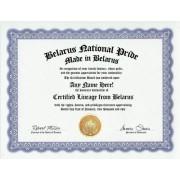 Belarus Belarusian National Pride Certification: Custom Gag Nationality Family History Genealogy Certificate (Funny Customized Joke Gift - Novelty Item)