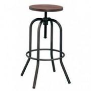 Scaun metalic bar RAKI ANTIQUE 40x40x70-86cm BLACK MATTE lemn/metal