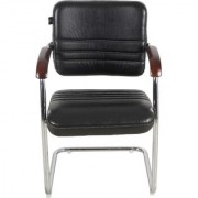 Fabsy Interior - Fabsy Interiors'S Black Leatherette Visitor Chair With Wooden Handle