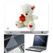 FineArts Laptop Skin Teddy with Heart With Screen Guard and Key Protector - Size 15.6 inch
