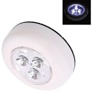 Futaba 3-LED Push Touch Lamp Mini Round Emergency Light with Stick Tape - White