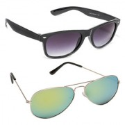 Magjons Fashion Combo Of Black Wayfarer Green Mirror Sunglasses