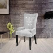 vidaXL Fauteuil met houten frame fluweel zilver