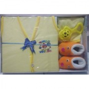 New Born Baby Gift Set With 4 Items (Yellow)