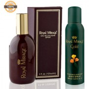 Royal Mirage Eau De Cologne Original 120ml + Royal Mirage Body Spray Gold 200ml