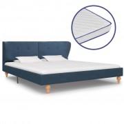 vidaXL Pat cu saltea cu spumă memorie, albastru, 180 x 200 cm, textil