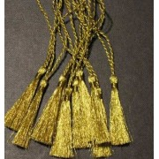 GOLD BOOKMARK TASSELS IN GLITTERING METALLIC THREAD - PACK OF 10
