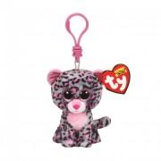 TY Plüss Beanie Boos Clip, 8,5 cm - Tasha rózsaszín-szürke leopárd