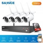 SANNCE Sistema de cámara de seguridad IP WiFi de 8 canales con 4 piezas