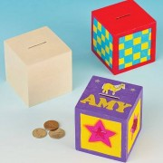 Wooden Money Boxes - 2 Boxes. Design your own money box with this plain wood 8.5cm cubes.