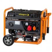 Generator de curent electric Stager GG 7300-3EW, 6300 W, trifazat, benzina, pornire electrica