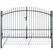 vidaXL vidaXL Poartă de gard cu uși duble, cu vârfuri de suliță, 300 x 248 cm