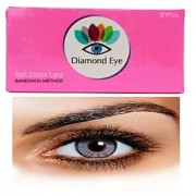 Attractive Diamond Eye UNISEX GREY color YEARLY disposable CONTACT LENSES (ZERO POWER)